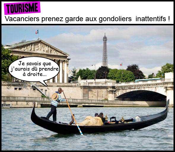 gondole, gondolier, paris, venise, tour Eiffel, vacances, vacanciers